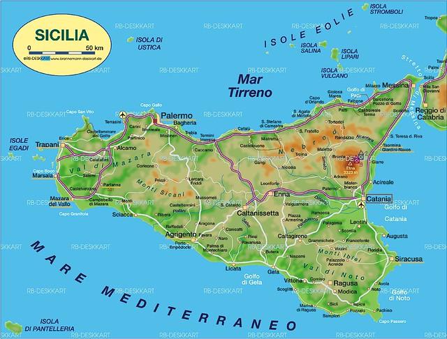 西西里岛的地图 | flickr