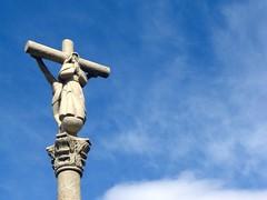 symbol, sculpture, monument, crucifix, cross, sky, statue,