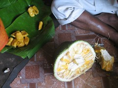 carving(0.0), pineapple(0.0), coconut(0.0), flower(0.0), plant(0.0), produce(0.0), dish(0.0), fruit(1.0), food(1.0), durian(1.0),