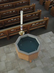 Baptismal Font and Paschal Candle