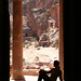 Silhouette at the Roman tomb in Petra