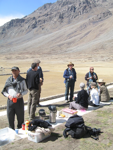 A welcome cup of green tea, with digestive biscuits, Shandur Pass polo ground