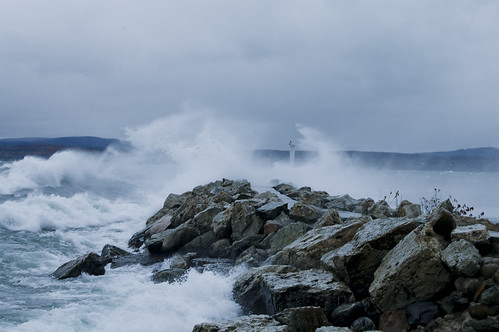 lighthouse storm waves wind windy breakwall petoskey whitecaps