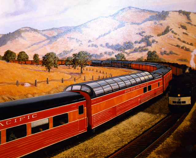 The South Pacific Steam Locamotive Train Daylight 4449.  This is a painting.
