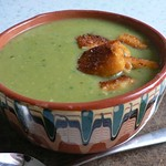 Pea & pesto soup with fish finger croutons