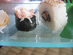 coconut(0.0), produce(0.0), dessert(0.0), onigiri(0.0), meal(1.0), rice(1.0), sushi(1.0), japanese cuisine(1.0), food(1.0), dish(1.0), cuisine(1.0),