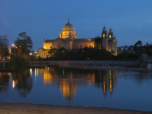 blue ireland sunset reflection galway church water night river twilight cityscape dusk irlanda irlande Ирландия Írország