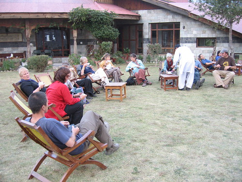 Tea on the lawn, Hindu Kush Heights, Chitral