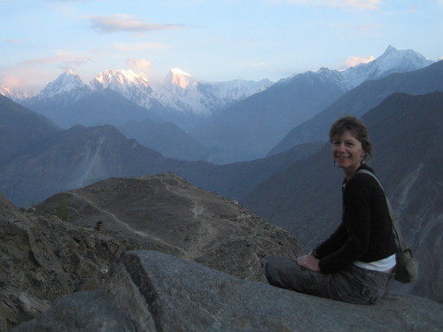 Annie, looking towards Golden Peak, Duikar viewpoint, Karimabad