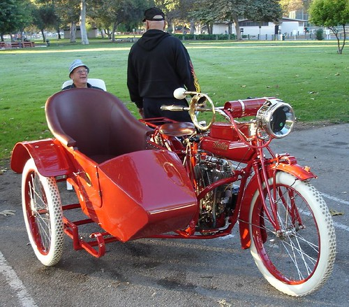Indian V-Twin motorcycle with Vintage sidecar