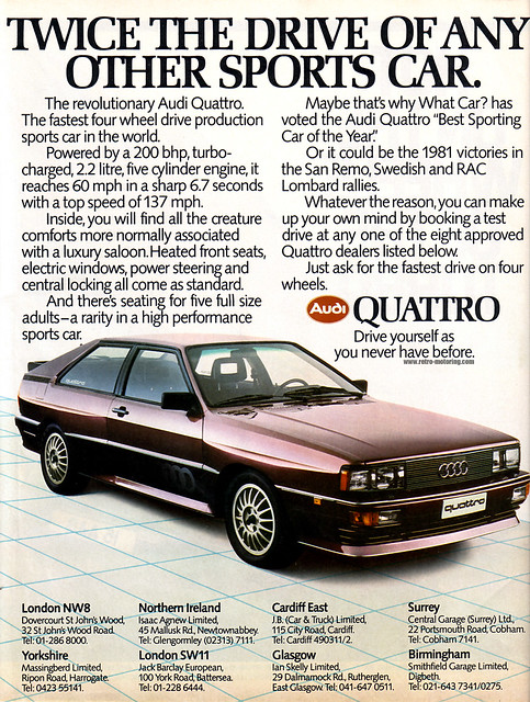 Audi Ur-Quattro  Retro Car Advert