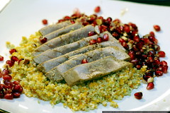 recipe: seared ahi with pomegranate almond dressing …