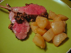 lamb and glazed turnips