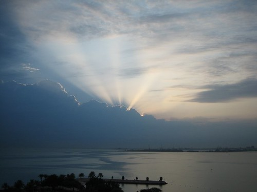 light sea sport clouds sunrise asia gulf calm olympic doha qatar oca asiangames