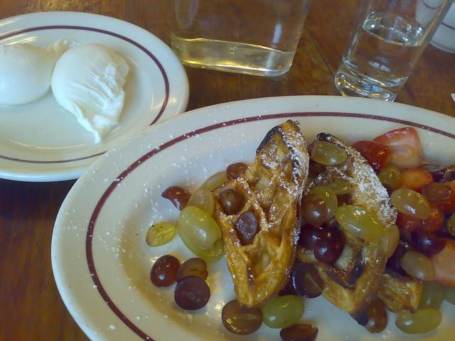Sour-cream & Hazelnut Waffles w/Grapes & Berries plus Two Poached ...