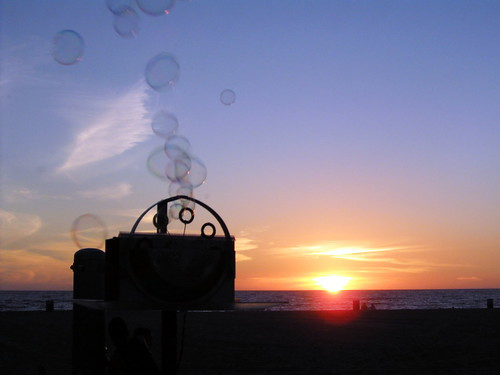 bubbles in the sunset