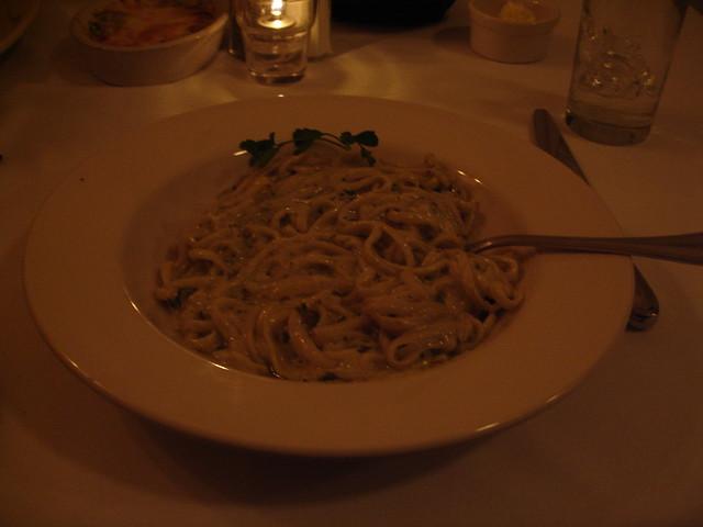 linguine pasta with basil pesto cream sauce, Giardina's, Greenville MS