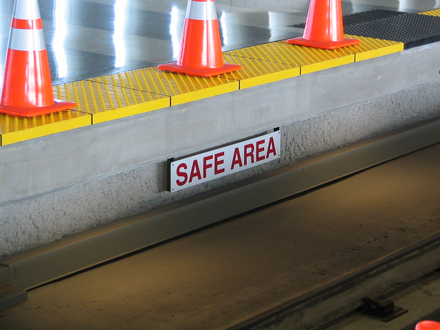 Coned area with Safe Area sign