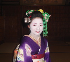 geisha(1.0), flower(1.0), clothing(1.0), purple(1.0), woman(1.0), female(1.0), peking opera(1.0), costume(1.0), person(1.0),