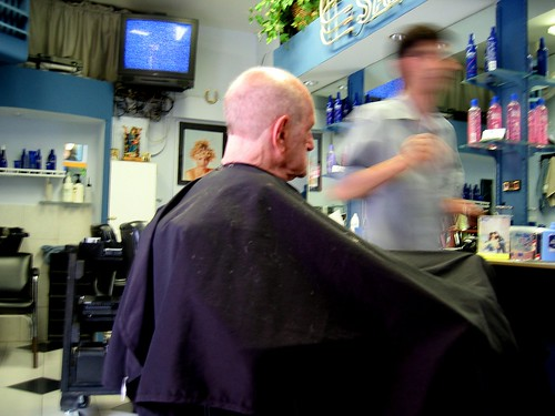 dad's annual haircut - he hates haircuts by Susan NYC