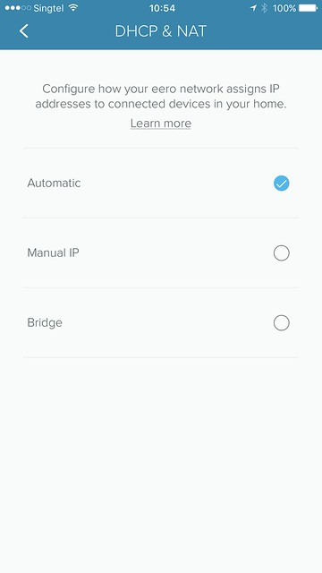 eero iOS App - Settings - Advanced Settings - DHCP & NAT