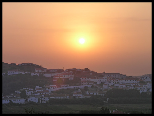 houses sunset sun portugal buildings town hill aljezur ilustrarportugal