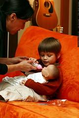 grandma neeta helps nick feed baby darth vader thund…