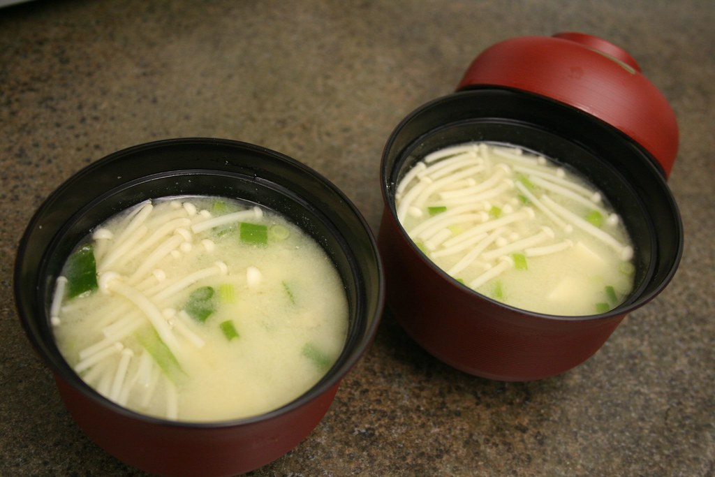 Shiro Miso Soup with Tofu, Enoki Mushrooms, and Green Onion