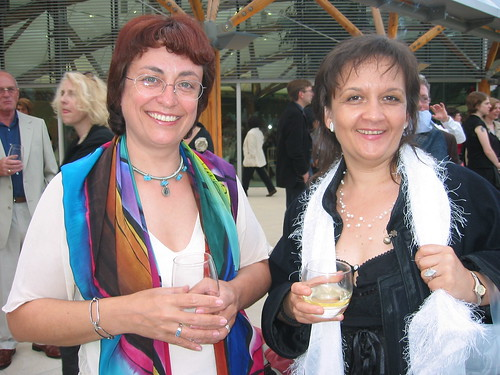 Kalina Wagenstein (Bulgaria) and Lidia Varbanova (Canada) at the Summit Dinner, Alnwick Gardens