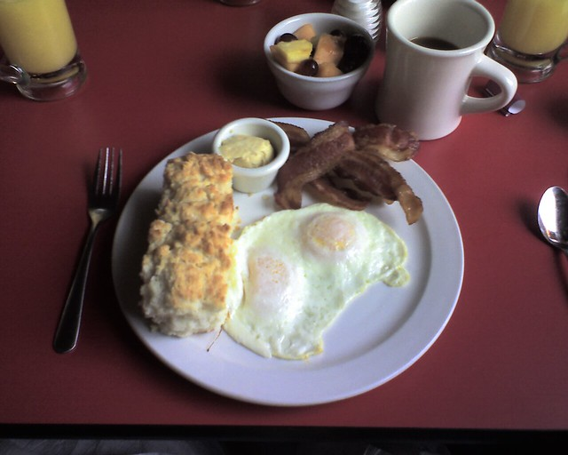 eggs, bacon, biscuits, coffee and fruit | Flickr - Photo Sharing!