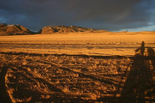 Tibetan sunset. Horchu. Western Tibet.
