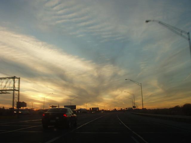 sunset on I-244