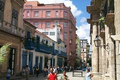 Calle Obispo with the Hotel Ambos Mundos (Hemingway's haunt), Havana, Cuba