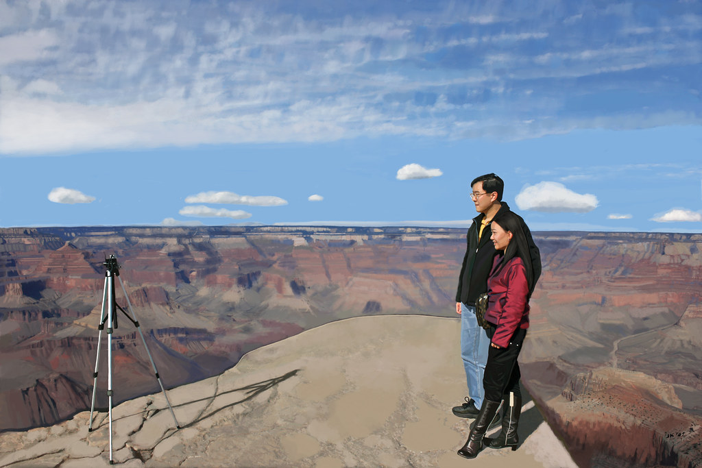 Grand Canyon Tourists Photographing Themselves