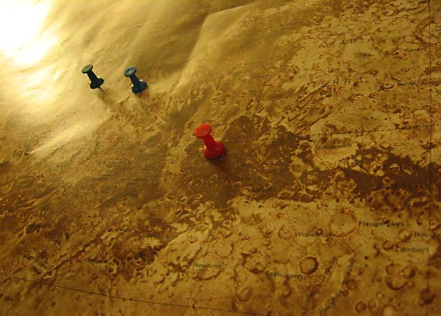 Mars Landers on Map