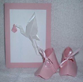 Origami Baby Girl Shoes Booties And Card