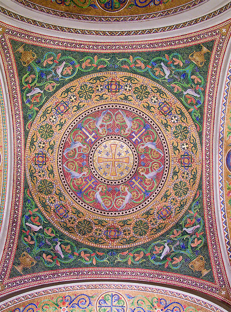 Cathedral Basilica of Saint Louis, in Saint Louis, Missouri - Our Lady's Chapel - ambulatory ceiling 1.jpg