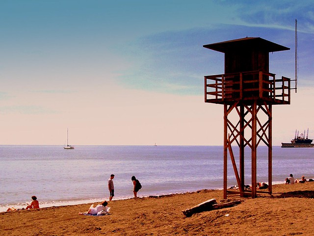 en la playa de la Malagueta