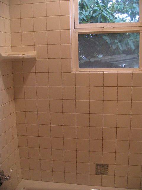 The new tile shower with corner shelf