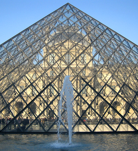 Musee du Louvre through the glass