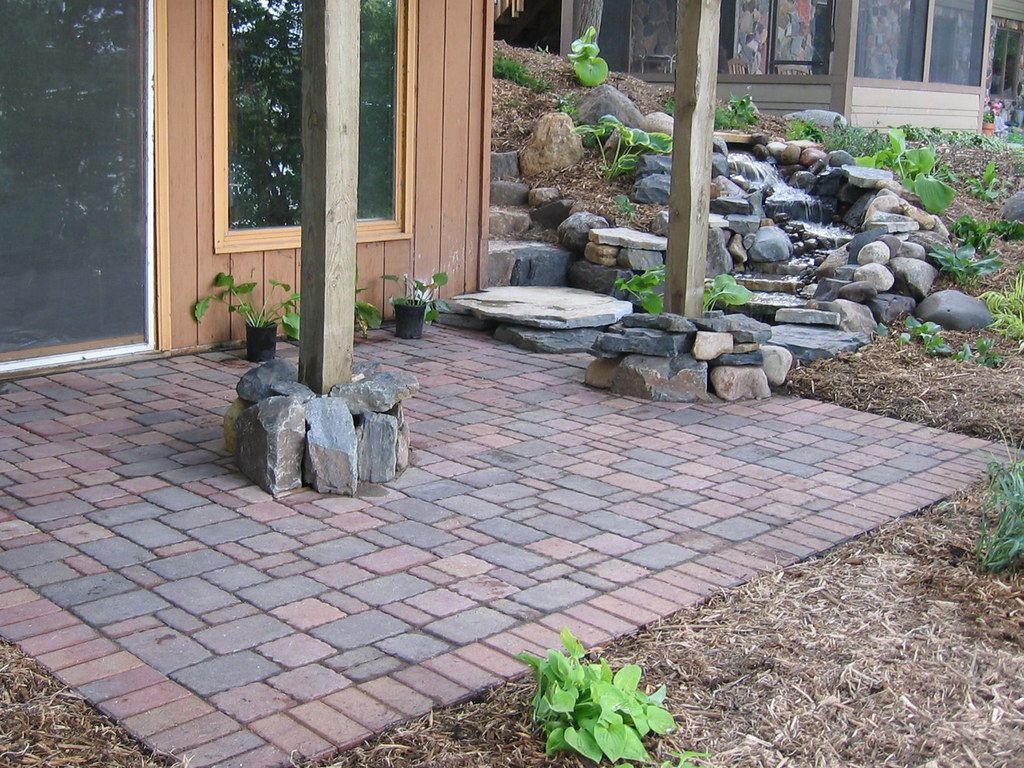 Waterfall and paver patio home improvements