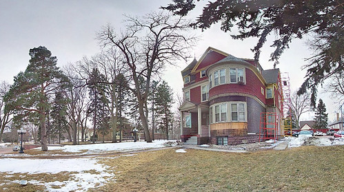 trees winter panorama snow home southdakota siouxfalls victorianarchitecture overcastsky realvizstitcher keithmansion
