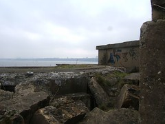 A ruined artillery bunker with a view of Granton