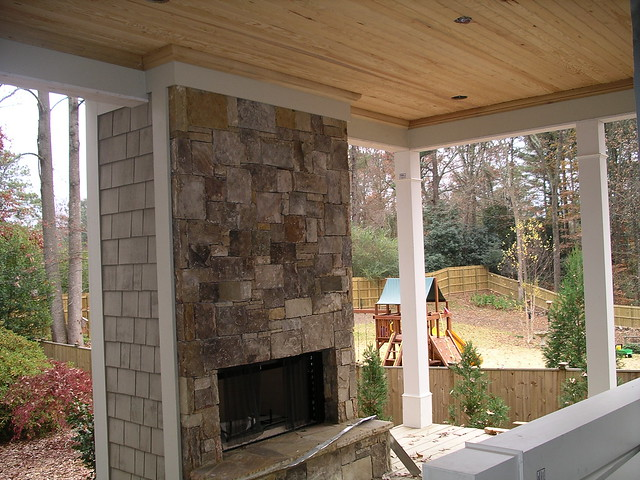 Screened porch fireplace flickr photo sharing for Screened in porch fireplace ideas