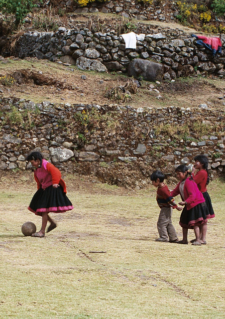 A football game high in the mountains