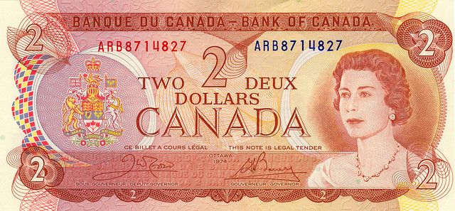 Canadian 2 Dollar Bill 1974 http://www.flickr.com/photos/bobkh/418447935/
