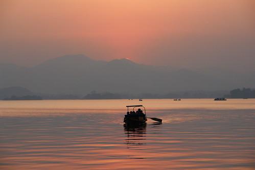 sunset westlake hangzhou 西湖 日落 杭州 xihu 夕阳