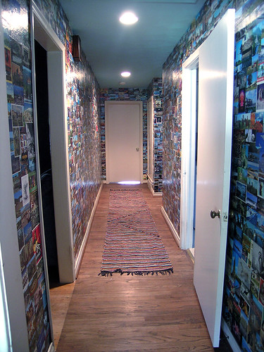 postcards recycled into wallpaper