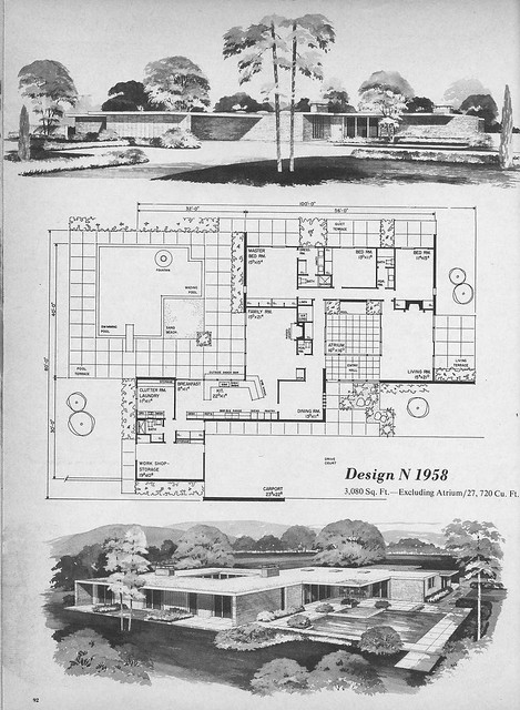 mid century modern house plans. Home Planners Design N1958 Mid Century Modern House Plans