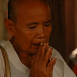 Elderly Man Praying - Battambang, Cambodia
